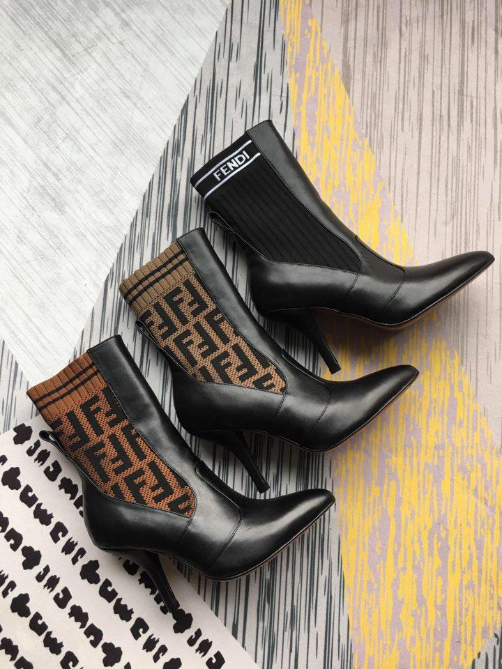Image of FENDI Rockoko logo-jacquard stretch-knit and leather ankle boots - Heel 9cm.