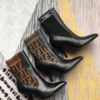 FENDI Rockoko logo-jacquard stretch-knit and leather ankle boots - Heel 9cm.