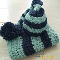 Blanket, Baby Blanket, Navy Blue Blanket and Hat Set, Baby Hat, Layering Blanket, Mini Blanket, Baby Wrap, Photo Prop, Photography Prop