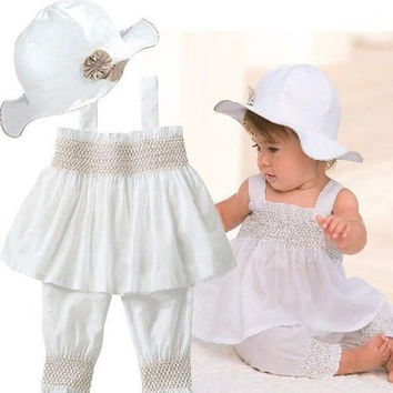 Baby Girls Kids Top+Pants+Hat Set 3 Pieces Outfit Costume Ruffled Clothes 0-3Y Free shipping & Drop shipping