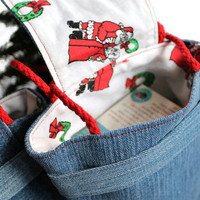 Santa & Mrs. Claus Gift Bags Christmas Reusable Denim Vintage 1980s Fabric Red White Green Holiday (Set of 2) --US Shipping Included