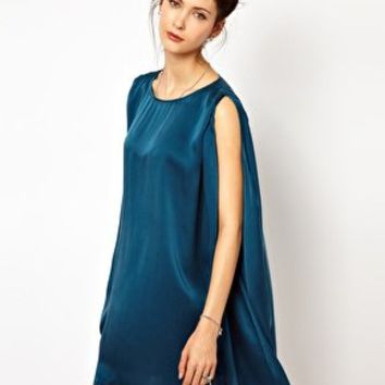2nd Day Cape Mini Dress in Teal Silk at asos.com