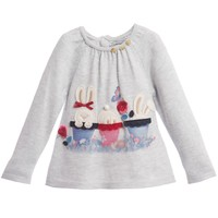 Baby Girls Pale Grey Sweater with Bunny Patches