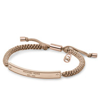 Michael Kors Macrame Logo-Bar Bracelet, Rose Golden