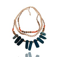 Agate and Crystal Triple Chain Necklace