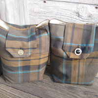 Plaid Gift Bags Reusable Winter Brown Turquoise Black Gold Holiday Christmas Modern Traditional (set of 2) --US Shipping Included