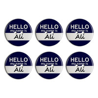 Ali Hello My Name Is Plastic Resin Button Set of 6