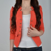 Stylish Stand Collar Long Sleeves Double-Breasted Embellished Slimming Fit Blazers For Women