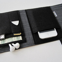 Nerd Herder gadget wallet in Sharp Suit for iPhone, Droid, iPod, digital camera, earbuds, SD cards, USB, guitar picks, IDs