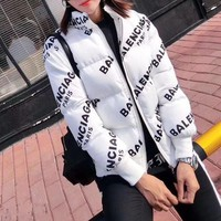 DCCKVQ8 Balenciaga' Women Simple Fashion Logo Letter Print Long Sleeve Zip Cardigan Cotton-padded Clothes Coat