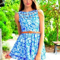 Blue Floral Print Dress with Cutout High Neckline & V-Back