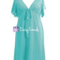 Light Medium Robin Egg blue Retro Style Party Dress W/Flutter Sleeves (BM526T)