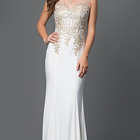 Long Embroidered Dress with Illusion Back