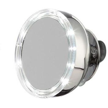 Stainless Steel LED Suction Cup Cosmetic Makeup Round 5X Magnifying Mirror