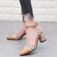 Classic Shoes Women Pumps Thick Heels Shoes Ankle Strap Lattice Women's Stiletto Buckle Shoes Chaussures