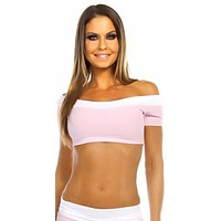 Sexy Off The Shoulder Namaste Yoga Work Out Gym Top - Baby Pink/White