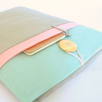 """11"""" to 15.6"""" Laptop Sleeve MacBook Case Padded Chromebook Cover,Custom Laptop Sizes Available, with Pocket - Seafoam, Peach, Tan Color Block"""