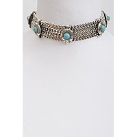 """15.50"""" gold turquoise aztec choker collar Necklace"""
