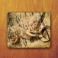 Pink Rose Vintage Music Sheet Clef G Mousepad Love Memory Song Mouse Pad Decoration Personalized Office Gift Desk Accessory Teacher Gift