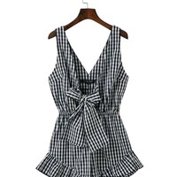 Casual Deep V-Neck Bowknot Ruffled Hem Plaid Romper