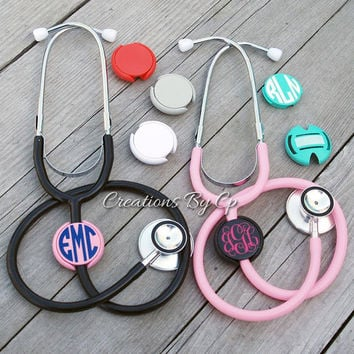 Monogrammed Stethoscope Name Tag ID Covers - Gift - Initial - Nurse ID Tag Cover Doctor Nursing Student - Gift - Nurses Week - Monogram