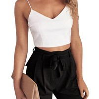 Fuedage Summer Autumn Women Sexy Two Pieces Crop Top Pants 2017 Casual Sashes Camisole Jumpsuit