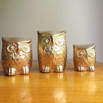 Vintage Brass Owl Figurines, Gold Owl Statues, Three Gold Owls, Brass Animal, Paperweights,Set