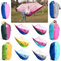 Portable Double Mosquito Net Hammock Swing Bed 2 Person Hanging Sleeping Bed Travel Camping