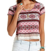 Red Combo Lace-Trim Paisley Cropped Tee by Charlotte Russe