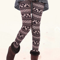 Brown Snowflake Deer Print Velvet Leggings