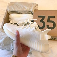 """Adidas"" Yeezy Boost Solid color Leisure Sports shoes white"
