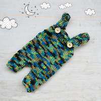 Hand Knitted baby romper / Baby girl overall / Baby boy suspender overall / Newborn Photo props