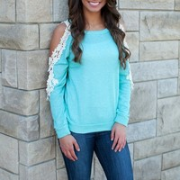 The Good Life Open Lace Sweater Mint
