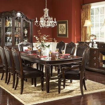 Home Elegance 1394-108 7 pc palace collection rich brown finish wood dining table set with bycast leather upholstered chairs