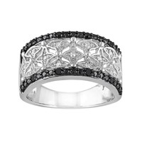1/8 Carat T.W. Black & White Diamond Sterling Silver Openwork Ring