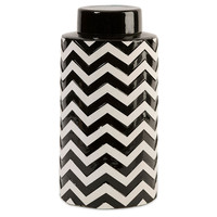"12"" Chevron Canister w/ Lid, Black/White, Jars, Canisters, Tins & Bottles"