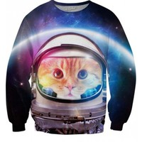 Space Cat Sweatshirt | All Over Print Shirts | EDM Rave Shirts