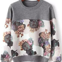 Grey Ink Floral Long Sleeve Sweatshirt