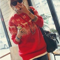 Christmas Girls Lovely Deers Snowflake Sweater Knitting Jumper US Local Delivery