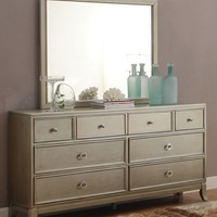 Rives Contemporary 8-Drawer Dresser and Mirror in Silver Gray