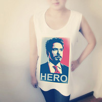 Tony Stark Classic Hero Poster Shirt Crop Top Tank Tops T-Shirt , Women Sexy Hipster Shirt , Custom Photo T-Shirt