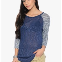 Navy Lovely Knit Casual Top   $10.00   Cheap Trendy Blouses Chic Discount Fashion for Women   ModDe
