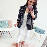 2018 New Arrival Women Early Autumn Striped Long Sleeve Casual Coat Suits Ladies striped suit Blazers women OL Jacket Hot