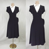Fit & Flare Black Full Wrap Dress w/ White Collar