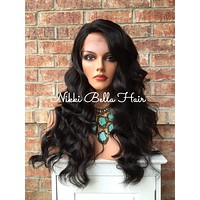 """Taylor Dark Brown Human Hair Blend Swiss Front Lace Wig 22"""""""
