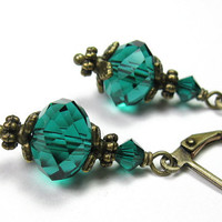 Vintage Style Earrings, Faceted Czech Glass Rondelles, Teal Green, Swarovski Crystal, Womens Accessories, Antiqued Brass, Gifts for Women