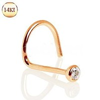 14Kt Rose Gold Nose Screw with Press Fit CZ