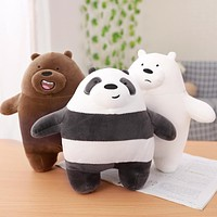 1pc 30cm We Bare bears Cartoon Bear Stuffed Grizzly Gray White Bear Panda Plush Toy Doll Kawaii Birthday Gift for Kids Children
