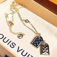 LV Louis Vuitton New fashion monogram pendant personality necklace women