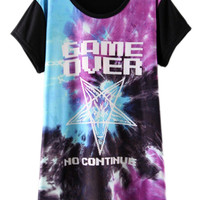 ROMWE Five-pointed Star & Letters Print Black T-shirt
